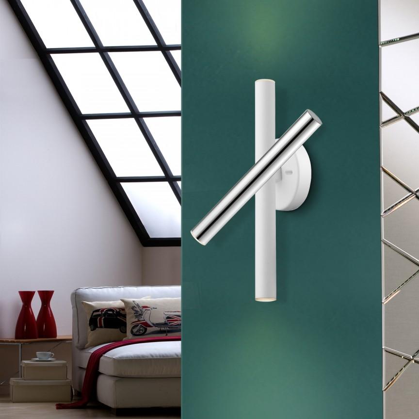 Aplica LED de perete design ultra-modern Varas crom/alb SV-373852, Aplice de perete LED, moderne⭐ modele potrivite pentru dormitor,living,baie,hol,bucatarie.✅Design premium actual Top 2020!❤️Promotii lampi❗ ➽ www.evalight.ro. Alege oferte la corpuri de iluminat cu LED pt tavan interior, (becuri cu leduri si module LED integrate cu lumina calda, naturala sau rece), ieftine si de lux, calitate deosebita la cel mai bun pret.  a