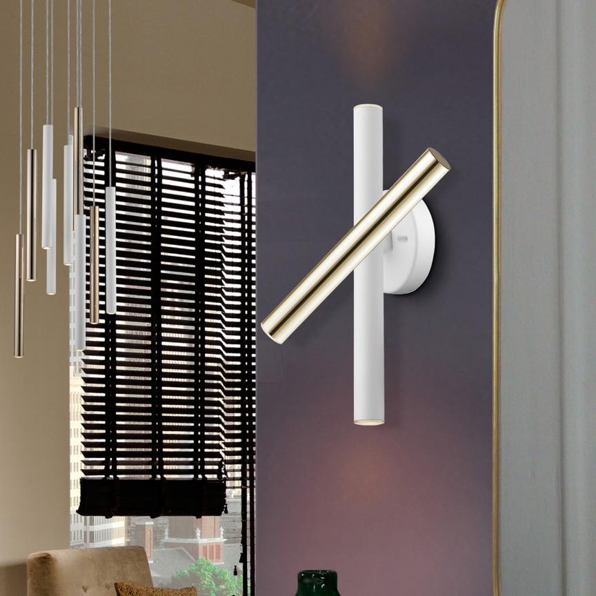 Aplica LED de perete design ultra-modern Varas auriu/alb, Aplice de perete LED, moderne⭐ modele potrivite pentru dormitor,living,baie,hol,bucatarie.✅Design premium actual Top 2020!❤️Promotii lampi❗ ➽ www.evalight.ro. Alege oferte la corpuri de iluminat cu LED pt tavan interior, (becuri cu leduri si module LED integrate cu lumina calda, naturala sau rece), ieftine si de lux, calitate deosebita la cel mai bun pret.  a