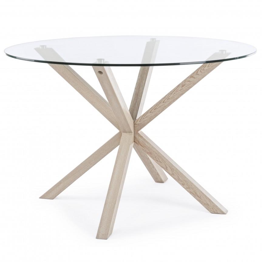 Masa cu design modern MAY rotunda metal/ sticla 114 0732185 BZ , Cele mai noi produse 2020 a