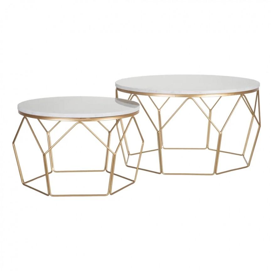 Set 2 masute de cafea design elegant Chelsey, auriu SX- 152739, Cele mai noi produse 2020 a