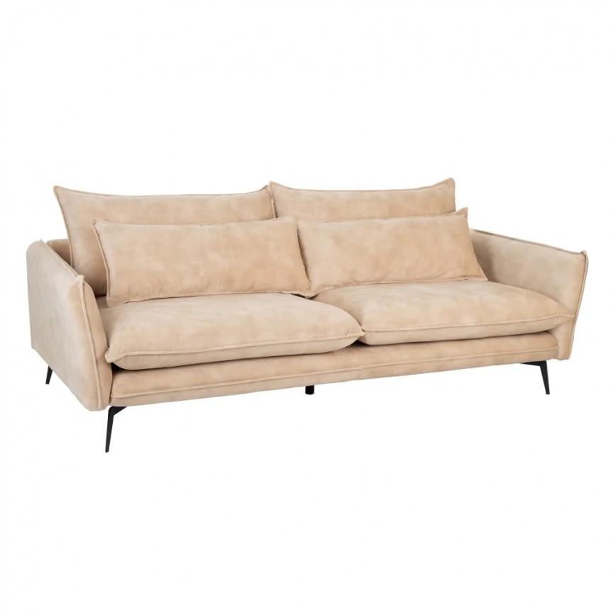 Canapea fixa 3 locuri design modern Alyson, tesatura bej SX-152612, Cele mai noi produse 2020 a