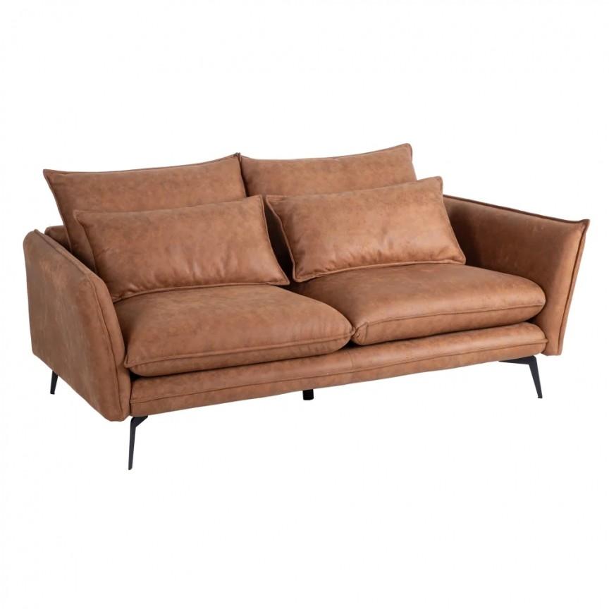 Canapea fixa 2 locuri design modern Alyson, tesatura maro-camel SX-152776, Cele mai noi produse 2020 a