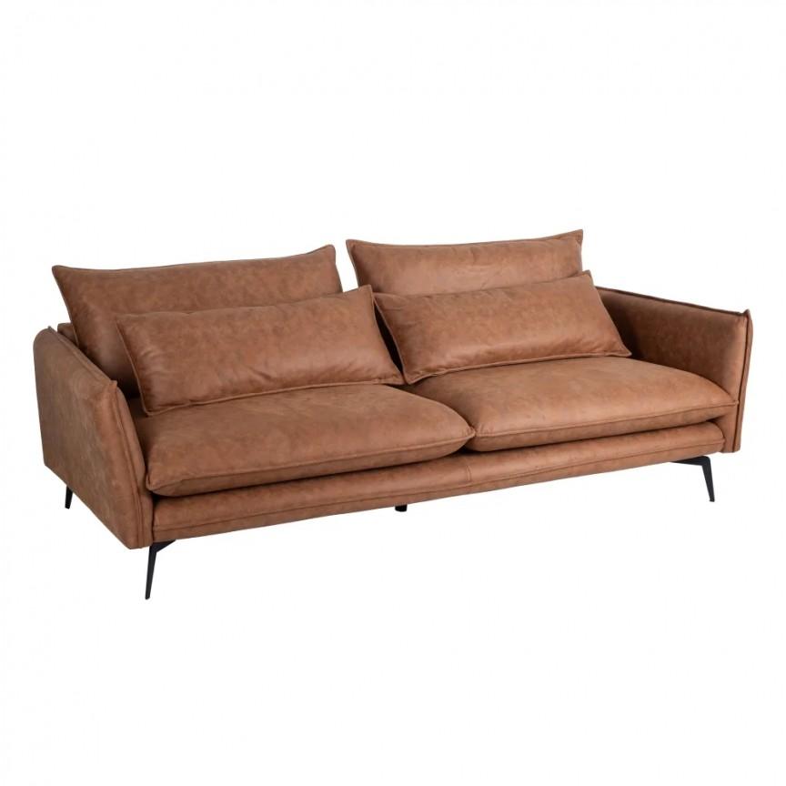 Canapea fixa 3 locuri design modern Alyson, tesatura maro-camel SX-152777, Cele mai noi produse 2020 a