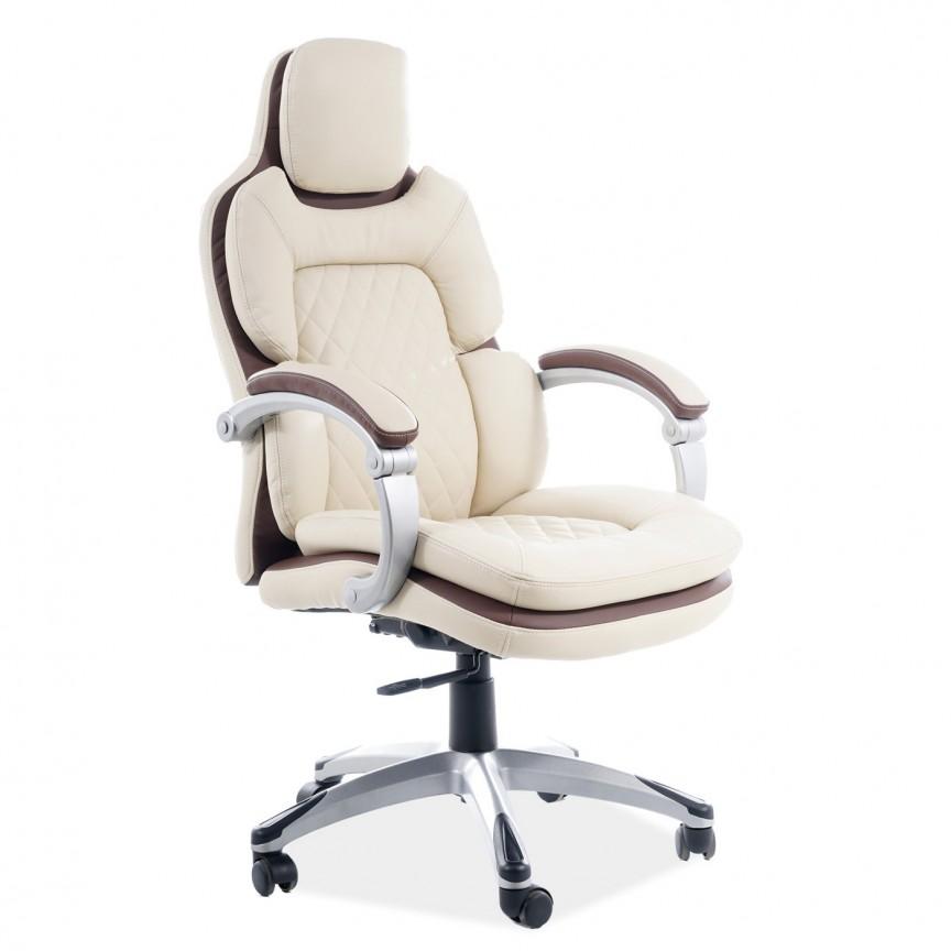Scaun de birou cu design ergonomic Q-388 piele sintetica crem cu insertii maro, Scaune de birou ergonomice⭐modele moderne directoriale,rotative pentru birou copii,reglabile de gaming.❤️Promotii scaune de birou❗ Intra si vezi ➽ www.evalight.ro. ➽ sursa ta de inspiratie online❗ ✅Design de lux original premium actual Top 2020❗ Alege cel mai bun scaun potrivit pt birou office, calculator, rezistente si confortabile, tapitate cu catifea, piele naturala (ecologica), din material textil (stofa) pivotante, rabatabile, cu spatar reglabil, cu roti cauciuc (silicon), intra ➽vezi oferte si reduceri cu vanzare rapida din stoc, ieftine si de calitate deosebita la cel mai bun pret. a
