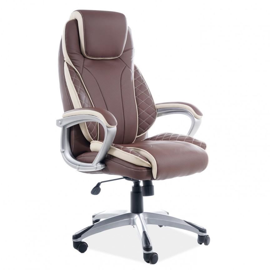 Scaun de birou cu design ergonomic Q-391 piele sintetica maro cu insertii crem, Scaune de birou ergonomice⭐modele moderne directoriale,rotative pentru birou copii,reglabile de gaming.❤️Promotii scaune de birou❗ Intra si vezi ➽ www.evalight.ro. ➽ sursa ta de inspiratie online❗ ✅Design de lux original premium actual Top 2020❗ Alege cel mai bun scaun potrivit pt birou office, calculator, rezistente si confortabile, tapitate cu catifea, piele naturala (ecologica), din material textil (stofa) pivotante, rabatabile, cu spatar reglabil, cu roti cauciuc (silicon), intra ➽vezi oferte si reduceri cu vanzare rapida din stoc, ieftine si de calitate deosebita la cel mai bun pret. a