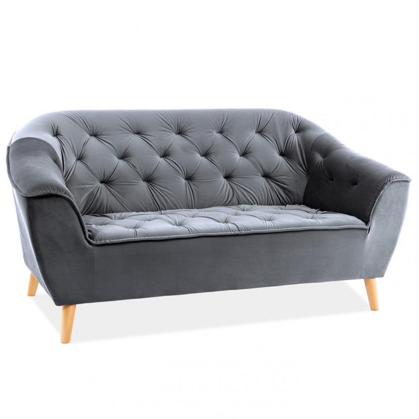 Canapea fixa eleganta GALAXY catifea gri, Cele mai noi produse 2020 a