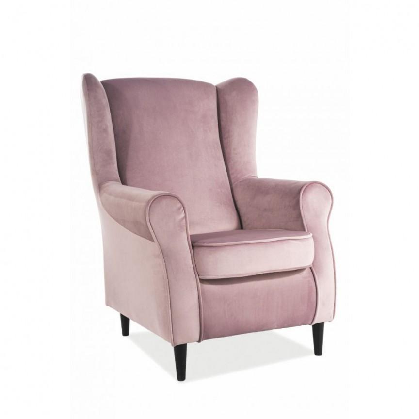 Fotoliu design modern tapitat cu catifea BARON roz antic, Fotolii - Fotolii extensibile,  a