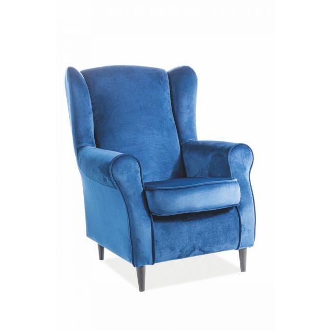 Fotoliu design modern tapitat cu catifea BARON albastru, Fotolii - Fotolii extensibile,  a