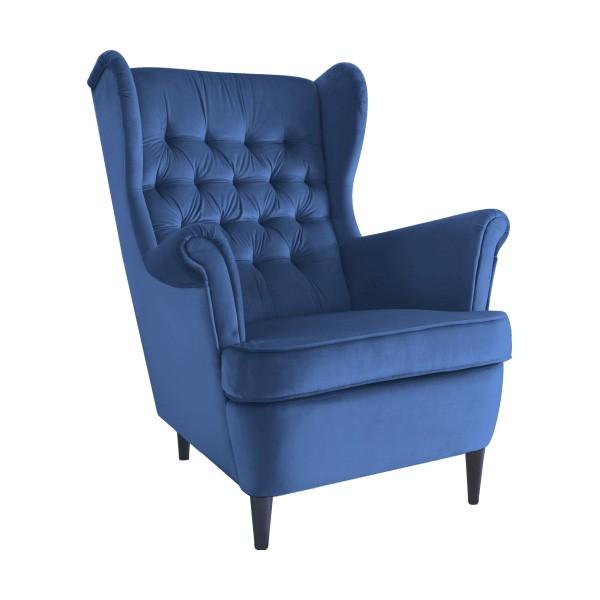 Fotoliu design modern tapitat cu catifea HARRY albastru, Fotolii - Fotolii extensibile,  a