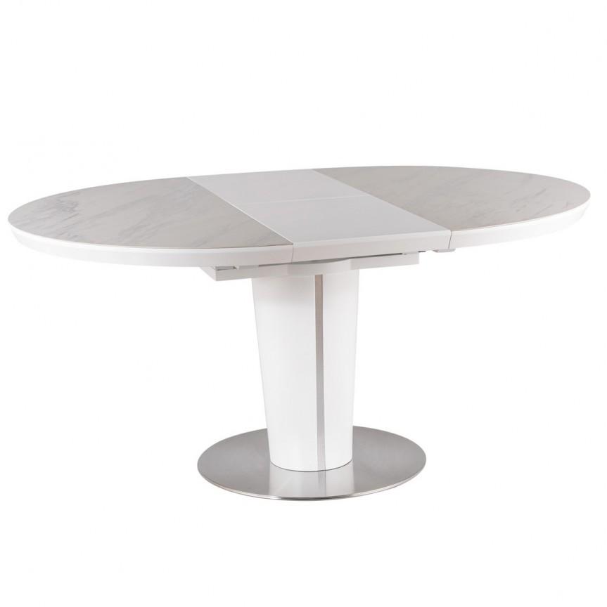 Masa Dining extensibila Orbit 120-160x120 alb mat / alb efect de marmura, Mese extensibile, moderne⭐ modele de lux pentru living, salon dining si bucatarie.❤️Promotii la masa extensibila sufragerie❗ Intra si vezi poze ✚ pret ➽ www.evalight.ro. ➽ sursa ta de inspiratie online❗ Alege set de masa ✚ scaune cu design elegant Art Deco in stil: modern, minimalist, clasic, baroc, vintage, retro, industrial style, sau scandinav. Aici gasesti mese de bucatarie cu scaune, masa cu blat rotund, oval, dreptunghiular, din lemn sau metal, otel cu blat de sticla securizata, PAL melaminat lucios, MDF, marmura, mozaic, granit, oglinda, picioare si cadru din lemn masiv, metalice cu aspect antichizat, cromat, culoare aurie, argintie, nuc, alba. Cumpara cele mai frumoase mese cu stil contemporan pt decoruri unicat: masa plianta de 4 / 6 / 8 / 10 / 12 persoane, de dimensiuni mari, birou, cafea, potrivita pt ori ce camera. Descopera cele mai noi tendinte si idei actuale de designer pentru amenajari interioare cu design original exclusivist premium Top 2020❗ Oferte si reduceri speciale cu vanzare rapida din stoc, mese extensibile de calitate la cel mai bun pret.   a
