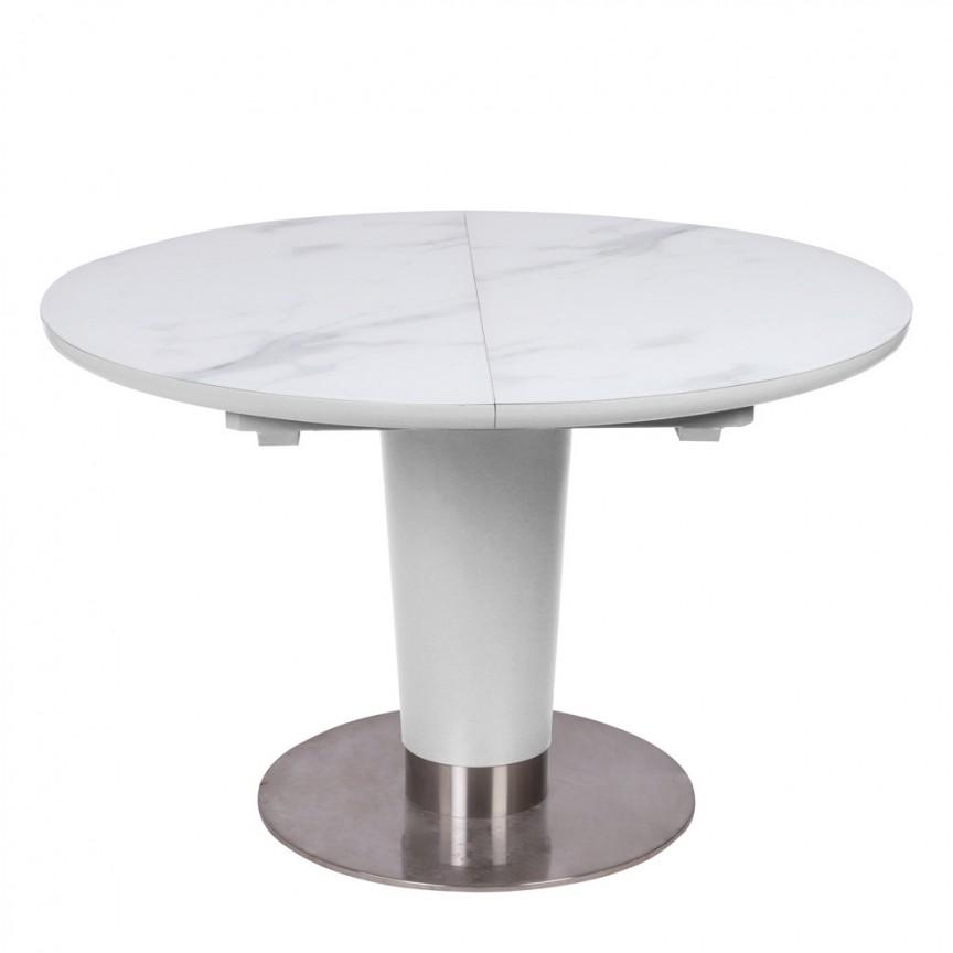Masa Dining extensibila HELIOS 120-160x120 alb mat / alb efect de marmura, Mese extensibile, moderne⭐ modele de lux pentru living, salon dining si bucatarie.❤️Promotii la masa extensibila sufragerie❗ Intra si vezi poze ✚ pret ➽ www.evalight.ro. ➽ sursa ta de inspiratie online❗ Alege set de masa ✚ scaune cu design elegant Art Deco in stil: modern, minimalist, clasic, baroc, vintage, retro, industrial style, sau scandinav. Aici gasesti mese de bucatarie cu scaune, masa cu blat rotund, oval, dreptunghiular, din lemn sau metal, otel cu blat de sticla securizata, PAL melaminat lucios, MDF, marmura, mozaic, granit, oglinda, picioare si cadru din lemn masiv, metalice cu aspect antichizat, cromat, culoare aurie, argintie, nuc, alba. Cumpara cele mai frumoase mese cu stil contemporan pt decoruri unicat: masa plianta de 4 / 6 / 8 / 10 / 12 persoane, de dimensiuni mari, birou, cafea, potrivita pt ori ce camera. Descopera cele mai noi tendinte si idei actuale de designer pentru amenajari interioare cu design original exclusivist premium Top 2020❗ Oferte si reduceri speciale cu vanzare rapida din stoc, mese extensibile de calitate la cel mai bun pret.   a