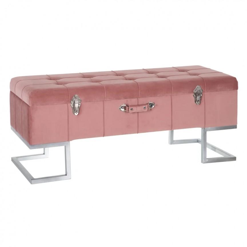 Bancheta cu spatiu de depozitare design elegant Perlita, tapiterie roz SX-154164, Magazin,  a