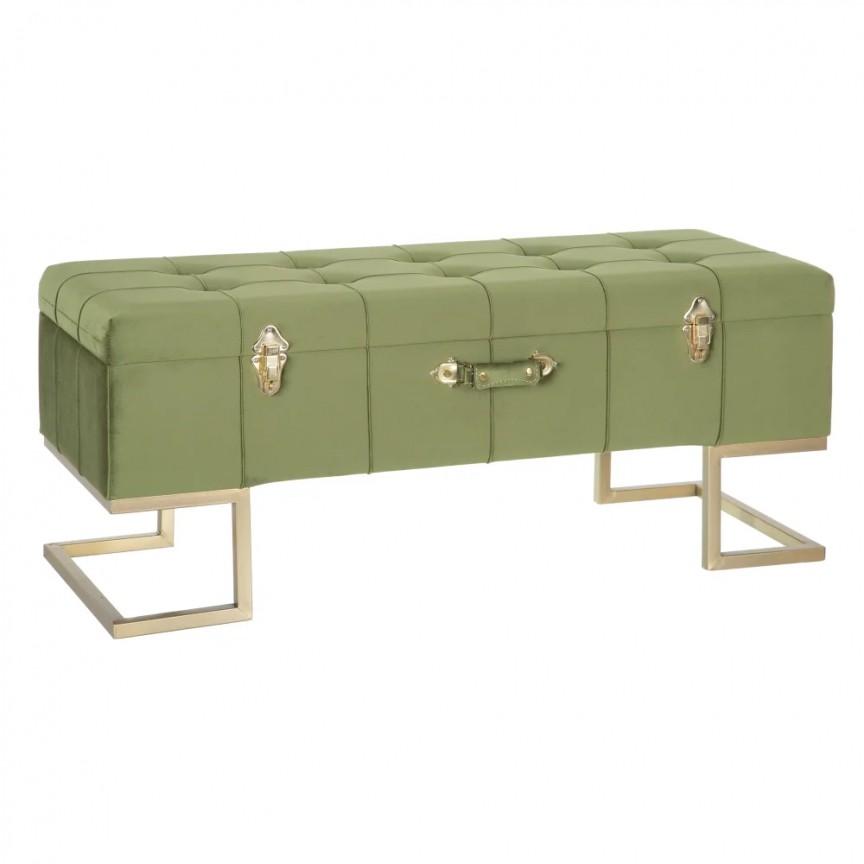 Bancheta cu spatiu de depozitare design elegant Perlita, tapiterie verde SX-154165, Magazin,  a