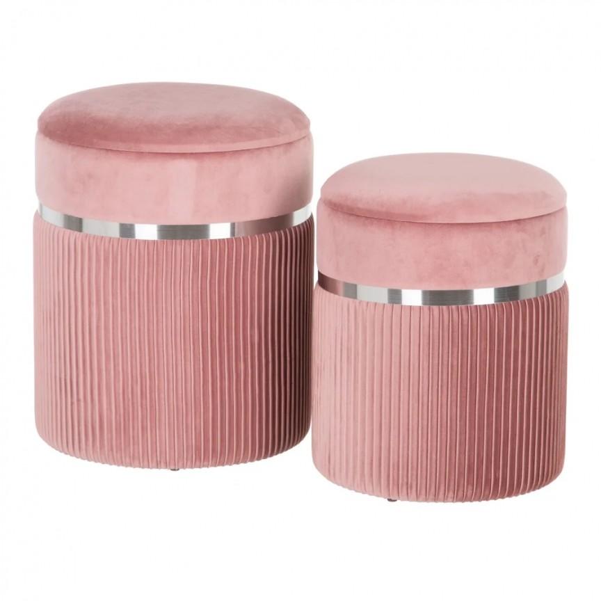 Set 2 tabureti cu spatiu de depozitare design elegant Lorin, roz-argintiu SX-154159, Tabureti - Banci,  a