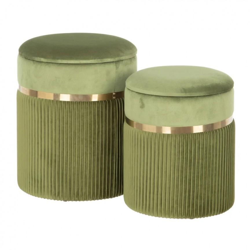 Set 2 tabureti cu spatiu de depozitare design elegant Lorin, verde-auriu SX-154160, Tabureti - Banci,  a