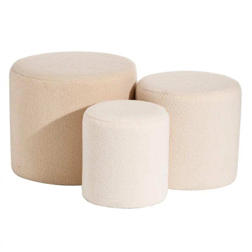 Set 3 tabureti design modern Lovell, crem-roze SX-152291, Tabureti - Banci,  a