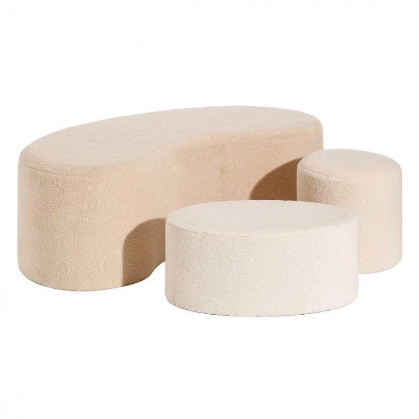 Set 2 tabureti si bancheta design modern Lovell, crem-roze SX-152292, Tabureti - Banci,  a
