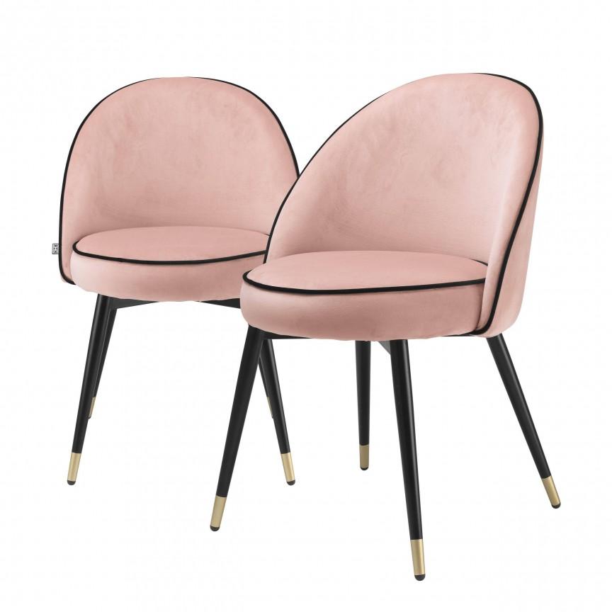 Set de 2 scaune design elegant LUX Cooper, catifea nude 114302 HZ, Cele mai noi produse 2020 a