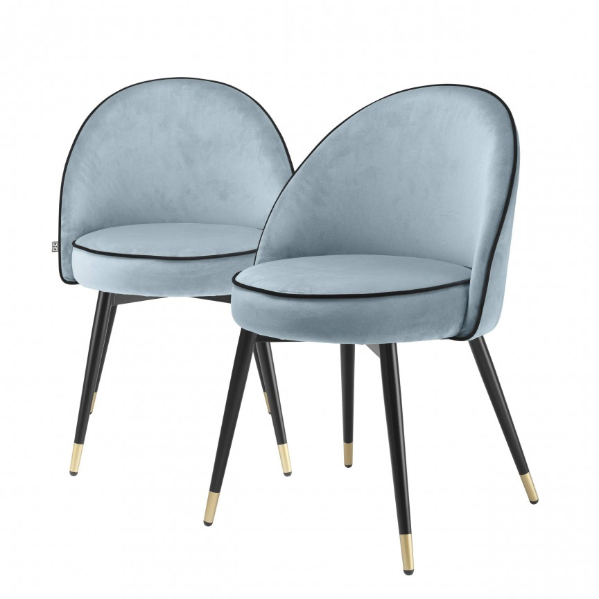 Set de 2 scaune design elegant LUX Cooper, catifea albastra 114304 HZ, Cele mai noi produse 2020 a