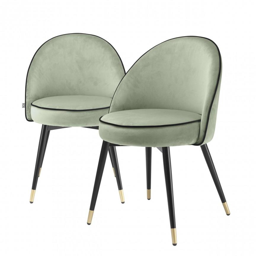 Set de 2 scaune design elegant LUX Cooper, catifea verde 114305 HZ, Cele mai noi produse 2020 a