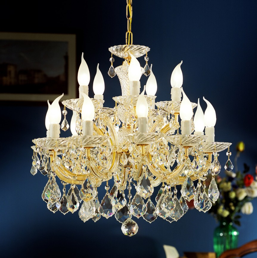 Lustra cu 15 brate Cristal Asfour MARIA THERESA, Lustre Cristal Asfour 30% PBO⭐ modele de candelabre mari XXL stil Imperial din cristal Asfour autentic❗ ✅Design Baroc unicat Premium Top 2021!❤️Promotii Lustre High Quality Crystal