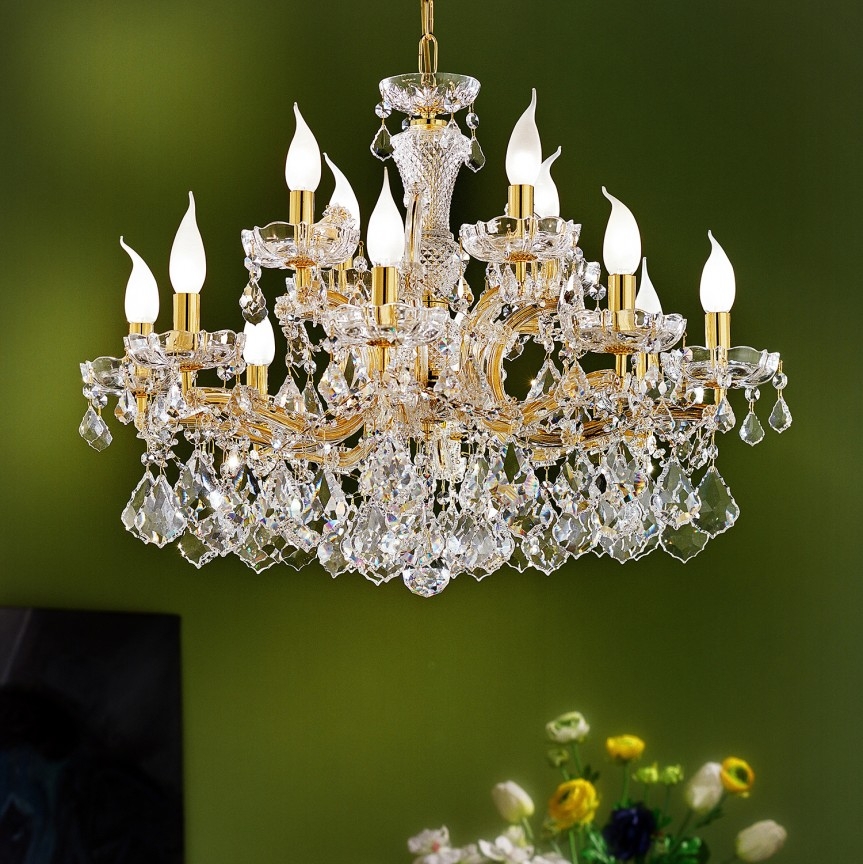 Lustra cu 12 brate Cristal Asfour MARIA THERESA, Lustre Cristal Asfour 30% PBO⭐ modele de candelabre mari XXL stil Imperial din cristal Asfour autentic❗ ✅Design Baroc unicat Premium Top 2021!❤️Promotii Lustre High Quality Crystal