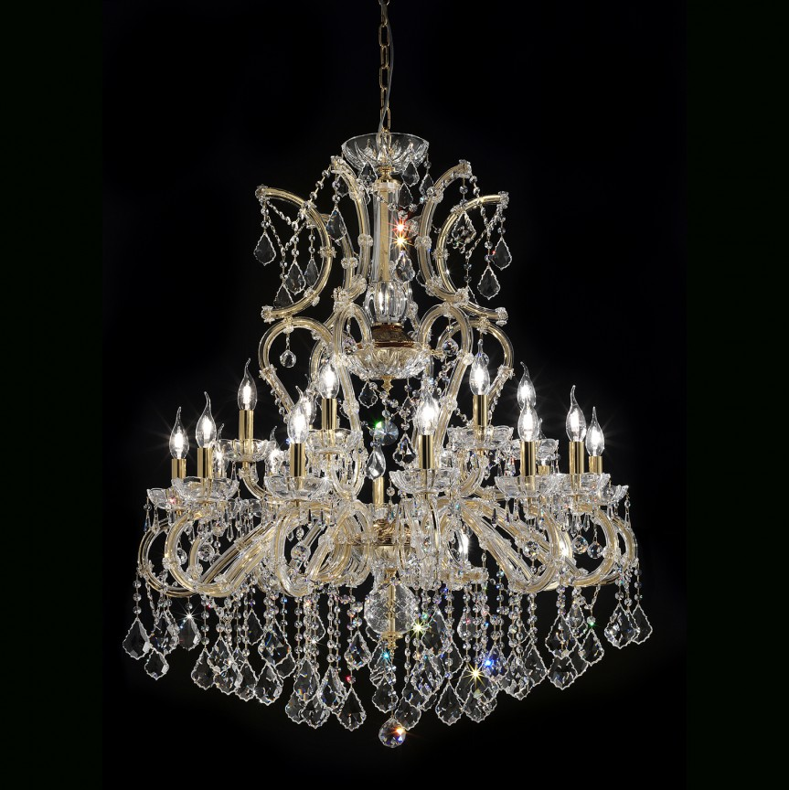 Lustra cu 18 brate Cristal Asfour MARIA THERESA, Lustre Cristal Asfour 30% PBO⭐ modele de candelabre mari XXL stil Imperial din cristal Asfour autentic❗ ✅Design Baroc unicat Premium Top 2021!❤️Promotii Lustre High Quality Crystal