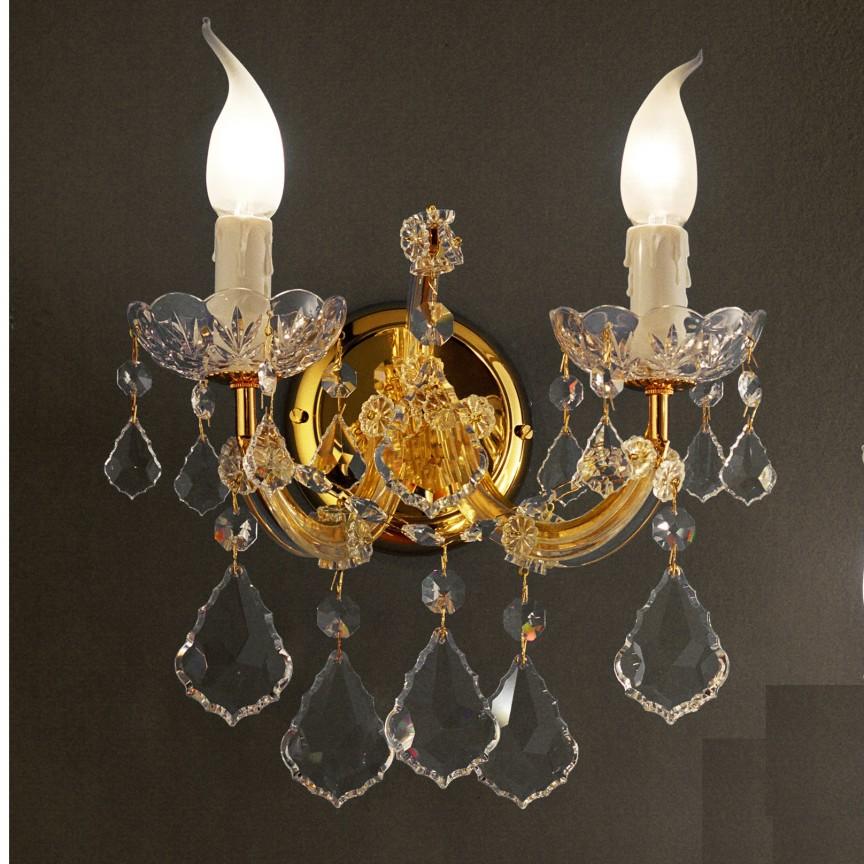 Aplica cu 2 brate design LUX Cristal Swarovski Spectra MARIA THERESA, Aplice Cristal Swarovski, ⭐modele deosebite stil Baroc din cristal Swarovski Spectra Extra Exclusive❗  ✅Design unicat Premium Top 2020!❤️Promotii la Aplice cu cristale moderne, clasice, traditionale❗ ➽ www.evalight.ro. Alege oferte la corpuri iluminat de perete interior decorative cu finisaj colorat, din metal aurii, alama, argintii, cromate, ieftine si de lux, calitate superioara la cel mai bun pret. a