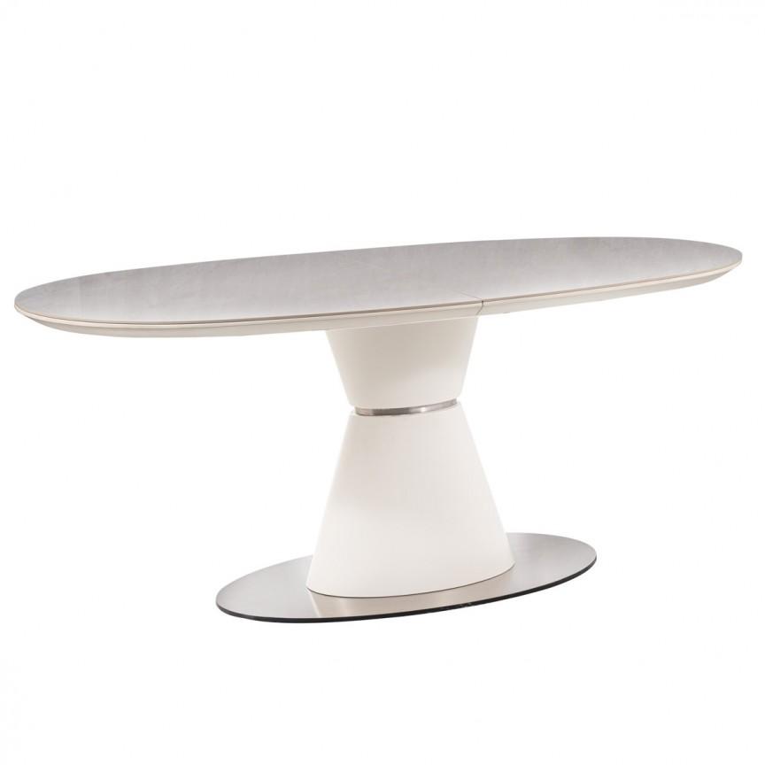 Masa moderna extensibila ENIGMA 160-210x90cm, alb mat/ ceramica, Mese extensibile, moderne⭐ modele de lux pentru living, salon dining si bucatarie.❤️Promotii la masa extensibila sufragerie❗ Intra si vezi poze ✚ pret ➽ www.evalight.ro. ➽ sursa ta de inspiratie online❗ Alege set de masa ✚ scaune cu design elegant Art Deco in stil: modern, minimalist, clasic, baroc, vintage, retro, industrial style, sau scandinav. Aici gasesti mese de bucatarie cu scaune, masa cu blat rotund, oval, dreptunghiular, din lemn sau metal, otel cu blat de sticla securizata, PAL melaminat lucios, MDF, marmura, mozaic, granit, oglinda, picioare si cadru din lemn masiv, metalice cu aspect antichizat, cromat, culoare aurie, argintie, nuc, alba. Cumpara cele mai frumoase mese cu stil contemporan pt decoruri unicat: masa plianta de 4 / 6 / 8 / 10 / 12 persoane, de dimensiuni mari, birou, cafea, potrivita pt ori ce camera. Descopera cele mai noi tendinte si idei actuale de designer pentru amenajari interioare cu design original exclusivist premium Top 2020❗ Oferte si reduceri speciale cu vanzare rapida din stoc, mese extensibile de calitate la cel mai bun pret.   a