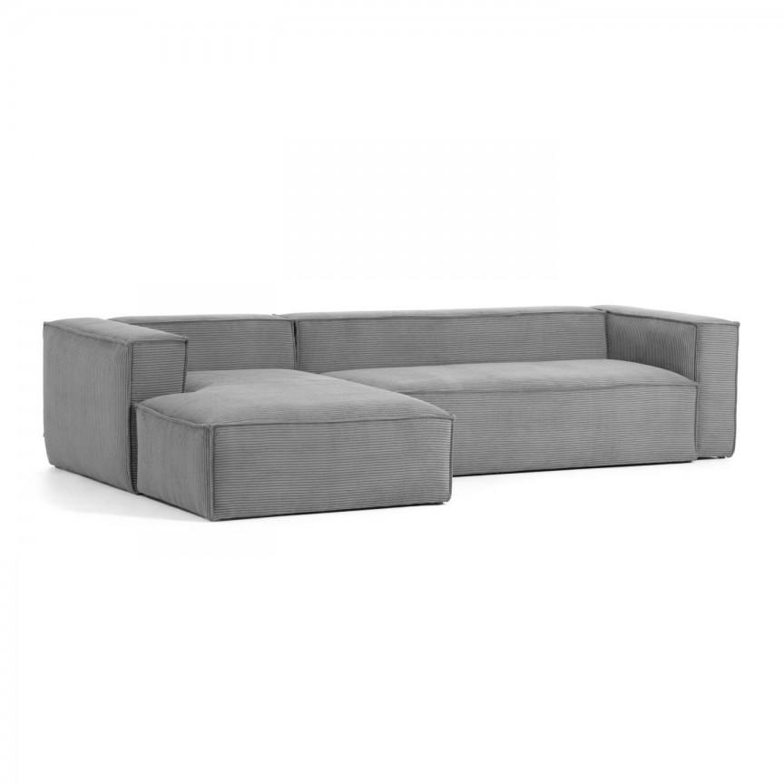 Canapea 3 locuri cu sezlong stanga 330cm Blok velveteen gri S572LN15 JG, Canapele - Coltare,  a
