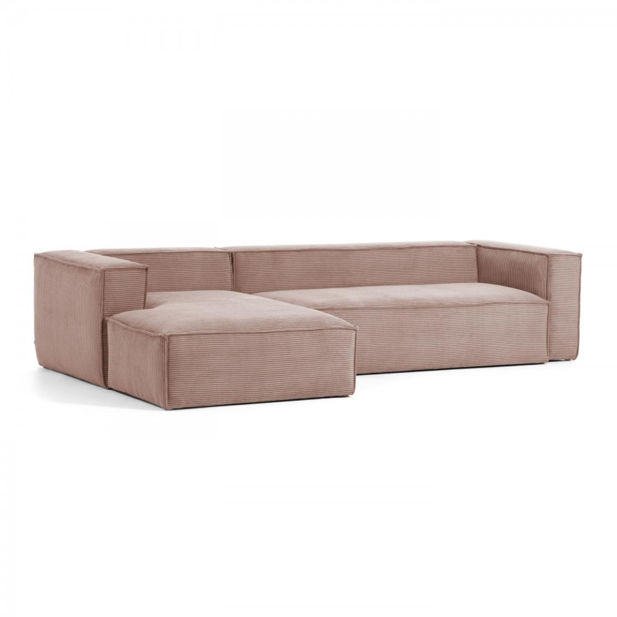 Canapea 3 locuri cu sezlong stanga 330cm Blok velveteen roz S572LN24 JG, Canapele - Coltare,  a