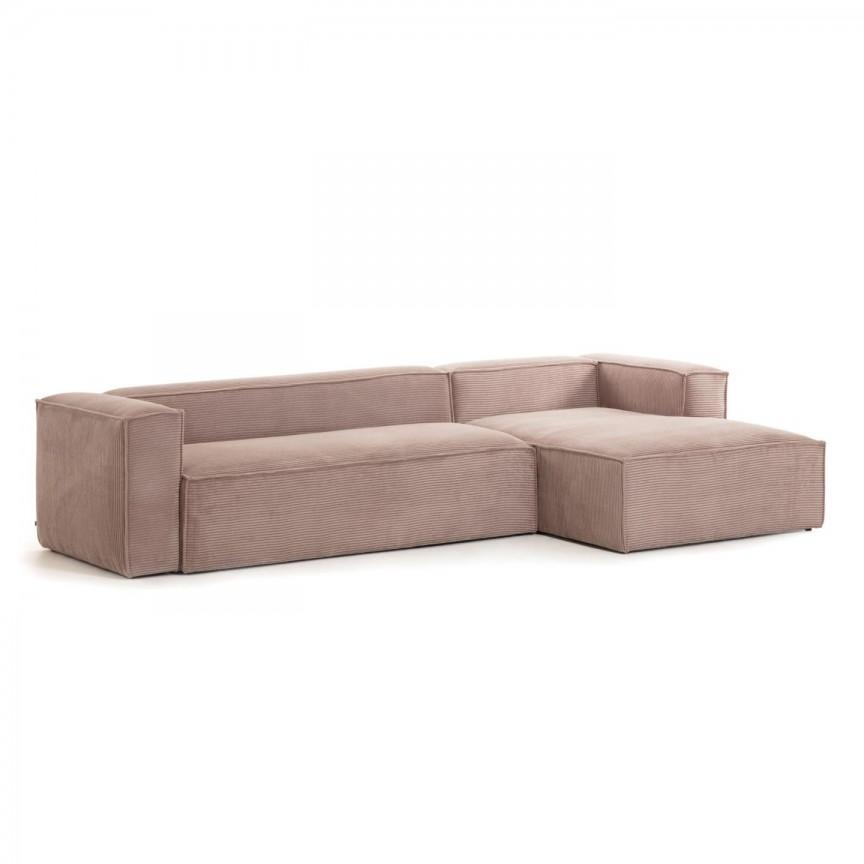Canapea 3 locuri cu sezlong dreapta 330cm Blok velveteen roz S573LN24 JG, Canapele - Coltare,  a
