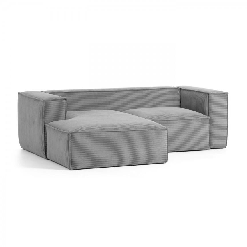 Canapea 2 locuri cu sezlong stanga 240cm Blok velveteen gri S575LN15 JG, Canapele - Coltare,  a