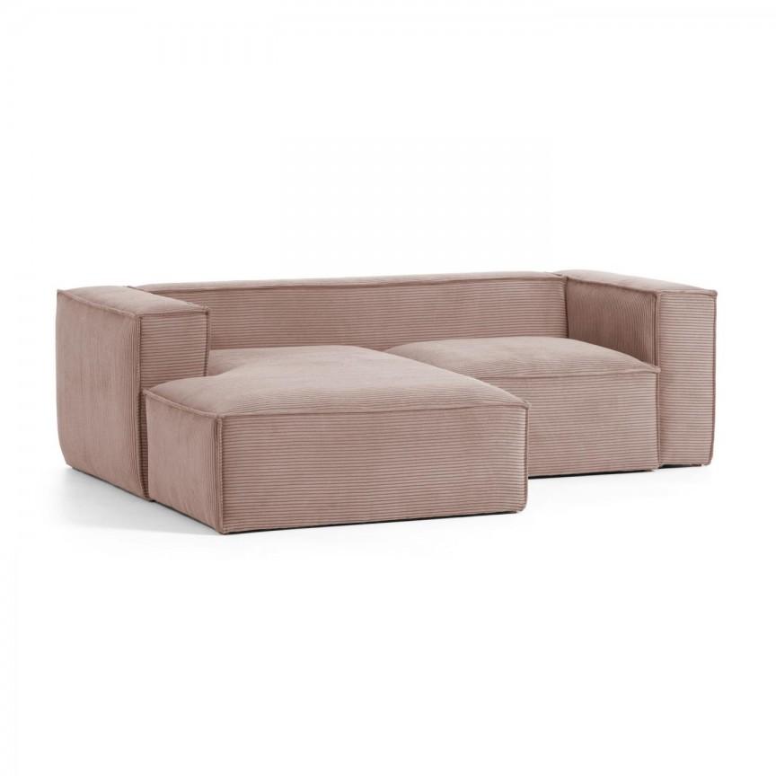 Canapea 2 locuri cu sezlong stanga 240cm Blok velveteen roz S575LN24 JG, Canapele - Coltare,  a