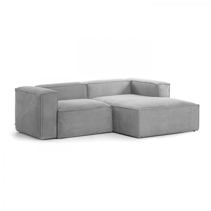 Canapea 2 locuri cu sezlong dreapta 240cm Blok velveteen gri S574LN15 JG, Canapele - Coltare,  a