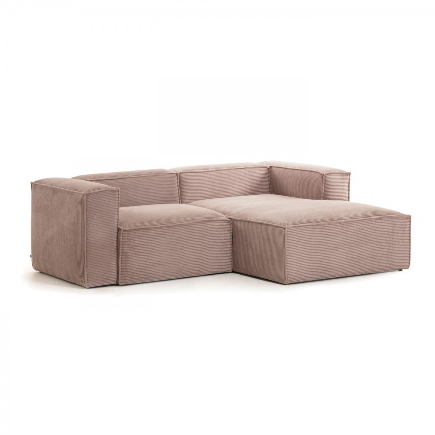 Canapea 2 locuri cu sezlong dreapta 240cm Blok velveteen roz S574LN24 JG, Canapele - Coltare,  a