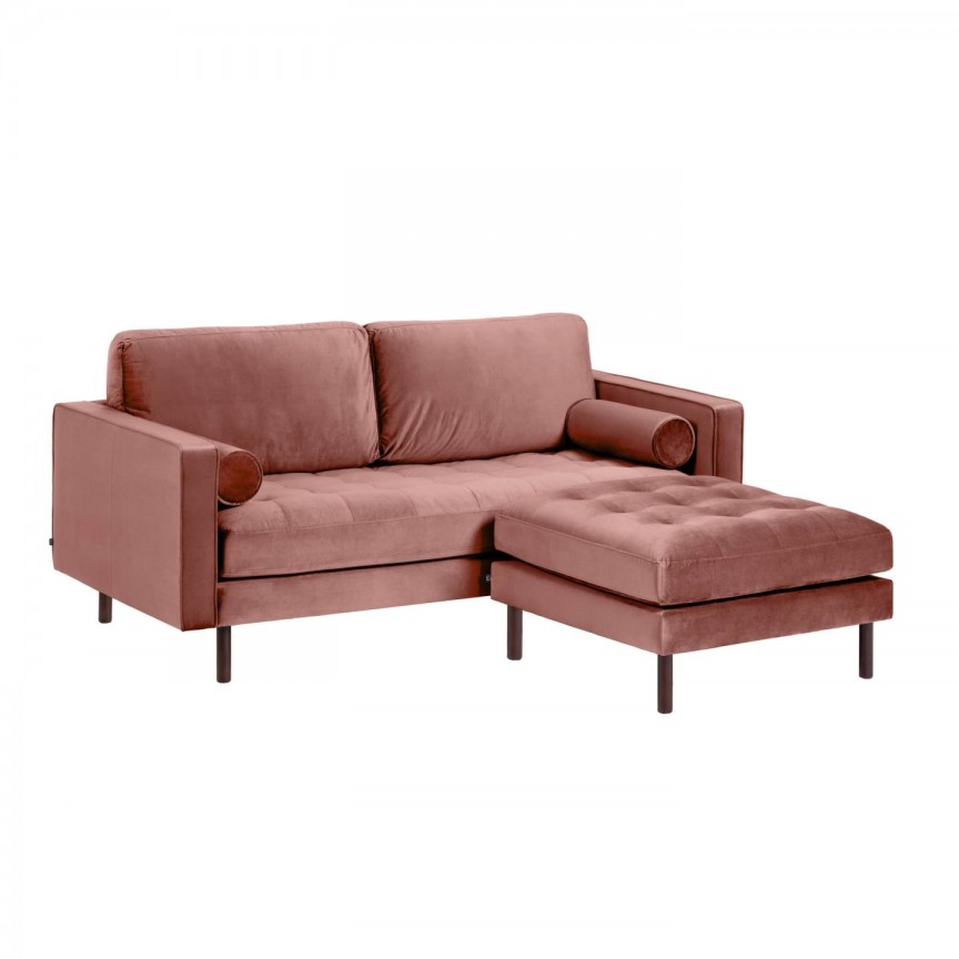 Canapea fixa 2 locuri si taburete inclus BOGART catifea roz S663JU24 JG, Canapele - Coltare,  a