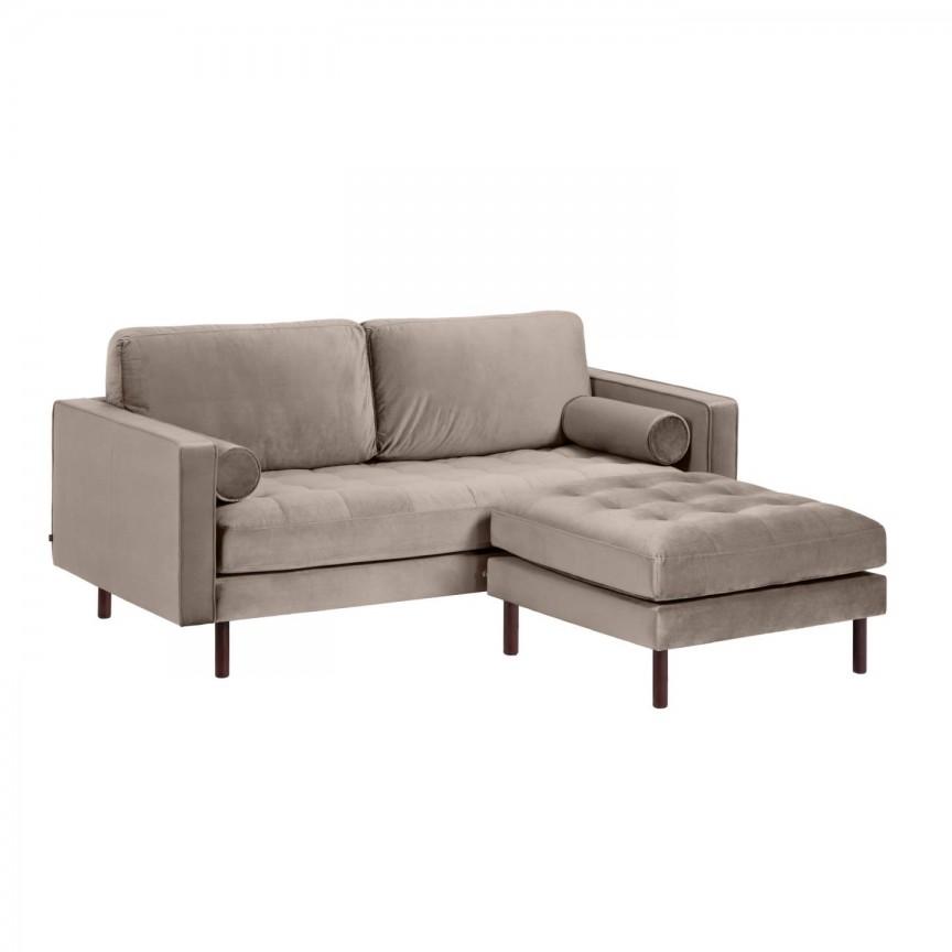 Canapea fixa 2 locuri si taburete inclus BOGART catifea taupe S663JU85 JG, Canapele - Coltare,  a