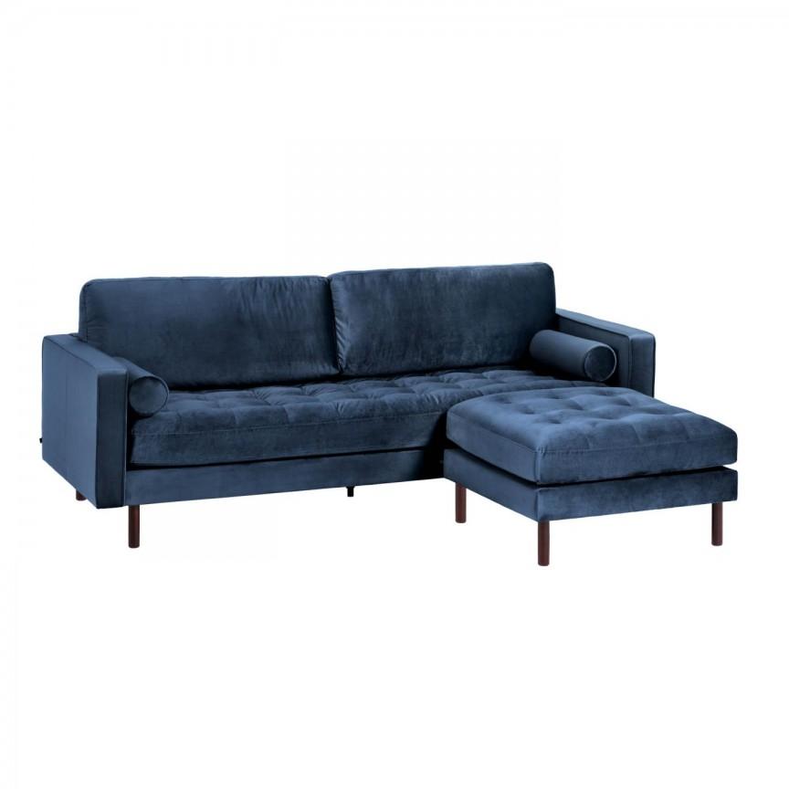 Canapea fixa 3 locuri si taburete inclus BOGART catifea albastra S664JU25 JG, Canapele - Coltare,  a