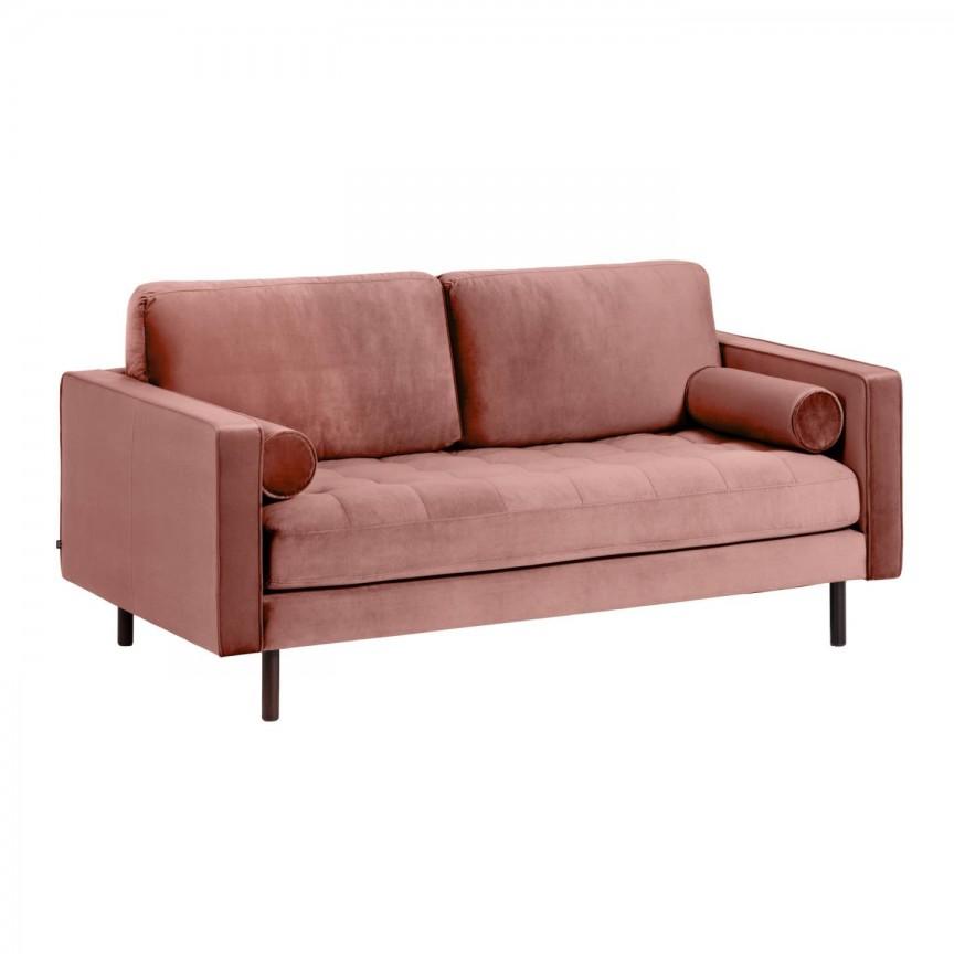Canapea fixa 2 locuri BOGART, catifea roz S547JU24 JG, Canapele - Coltare,  a