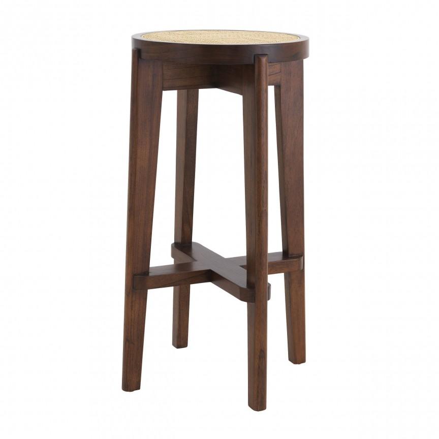 Scaun de bar din lemn finisaj maro design modern Dareau, H-76,5cm 114180 HZ, Scaune de bar,  a