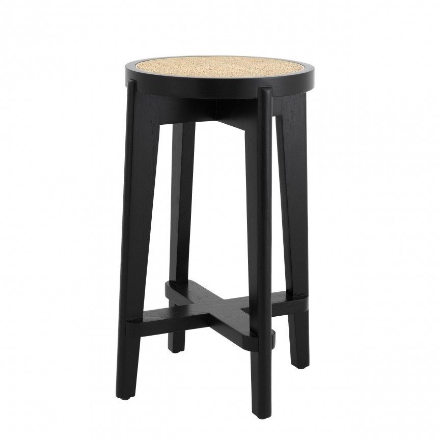 Scaun de bar din lemn finisaj negru design modern Dareau, H-67cm 114382 HZ, Scaune de bar,  a