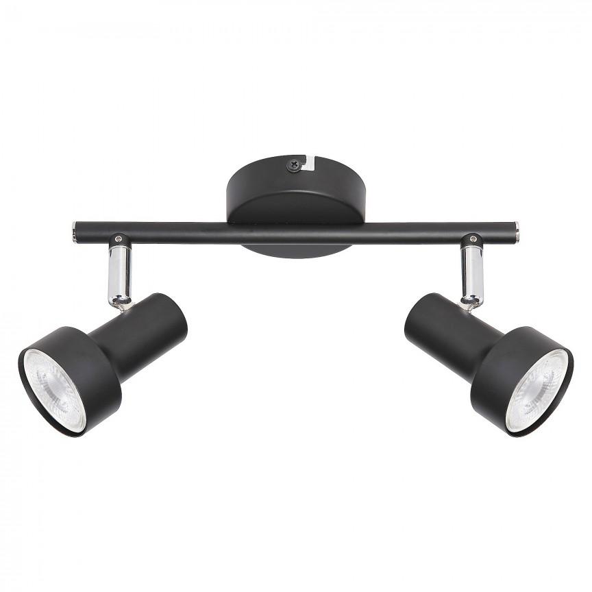 Aplica 2 spoturi design industrial metalica KONRAD negru 5323 RX, Aplice aplicate perete sau tavan cu spoturi, LED⭐ modele moderne corpuri de iluminat tip spoturi pe bara.✅Design decorativ 2021!❤️Promotii lampi❗ ➽ www.evalight.ro. Alege oferte aplice de iluminat interior, lustre si plafoniere cu 2 spoturi cu lumina LED si directie reglabila, spot orientabil cu intrerupator, simple si ieftine de calitate la cel mai bun pret. a
