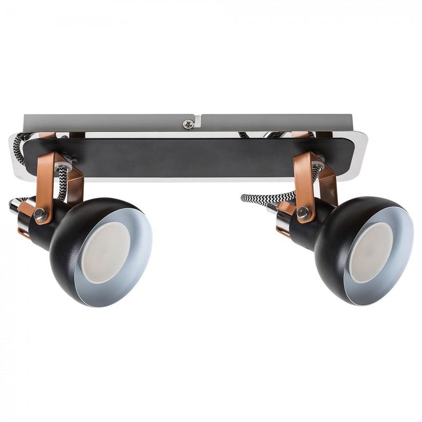 Aplica 2 spoturi design minimalist metalica BALZAC negru mat 5610 RX, Aplice aplicate perete sau tavan cu spoturi, LED⭐ modele moderne corpuri de iluminat tip spoturi pe bara.✅Design decorativ 2021!❤️Promotii lampi❗ ➽ www.evalight.ro. Alege oferte aplice de iluminat interior, lustre si plafoniere cu 2 spoturi cu lumina LED si directie reglabila, spot orientabil cu intrerupator, simple si ieftine de calitate la cel mai bun pret. a