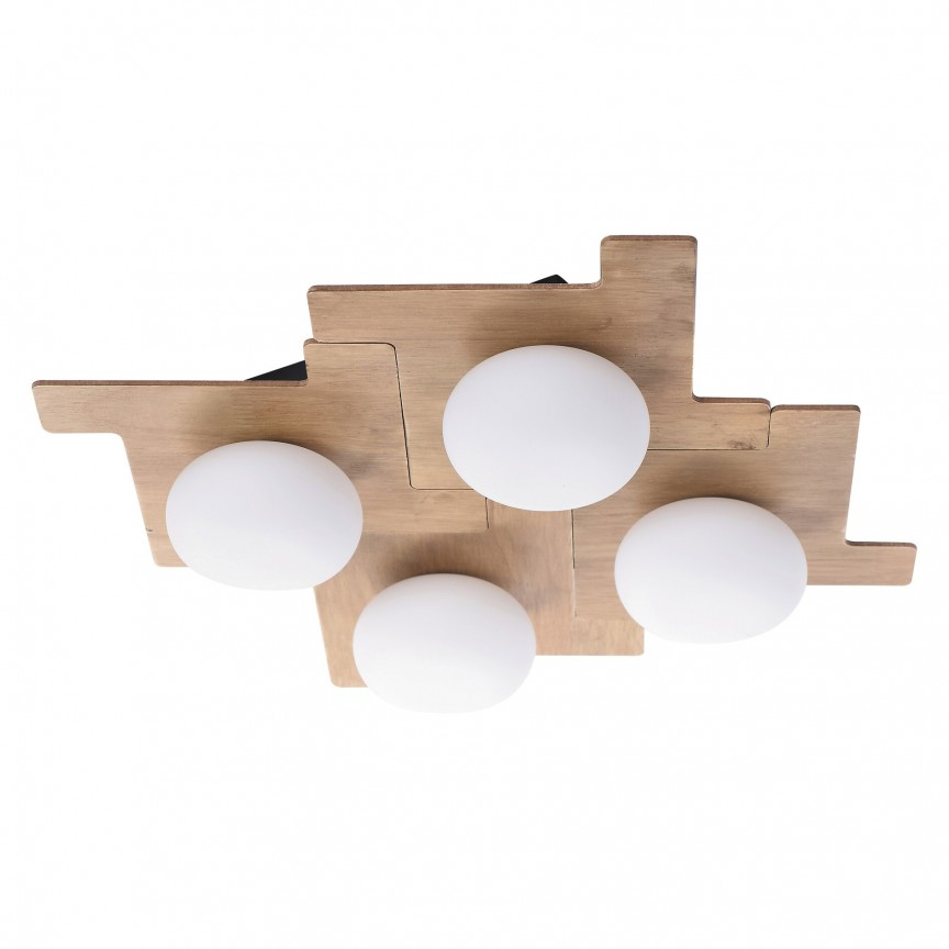 Lustra aplicata cu 4 spoturi design scandinav nordic NORWOOD maro fag 6919 RX, Lustre / Plafoniere cu 3 spoturi, LED⭐ modele moderne potrivite pentru tavan hol, dormitor, living, baie, bucatarie, camera copii.✅ Design premium actual Top 2020! ❤️Promotii lampi❗ ➽ www.evalight.ro. Alege oferte la corpuri de iluminat (rotunde si patrate) ieftine si de lux, calitate deosebita la cel mai bun pret. a