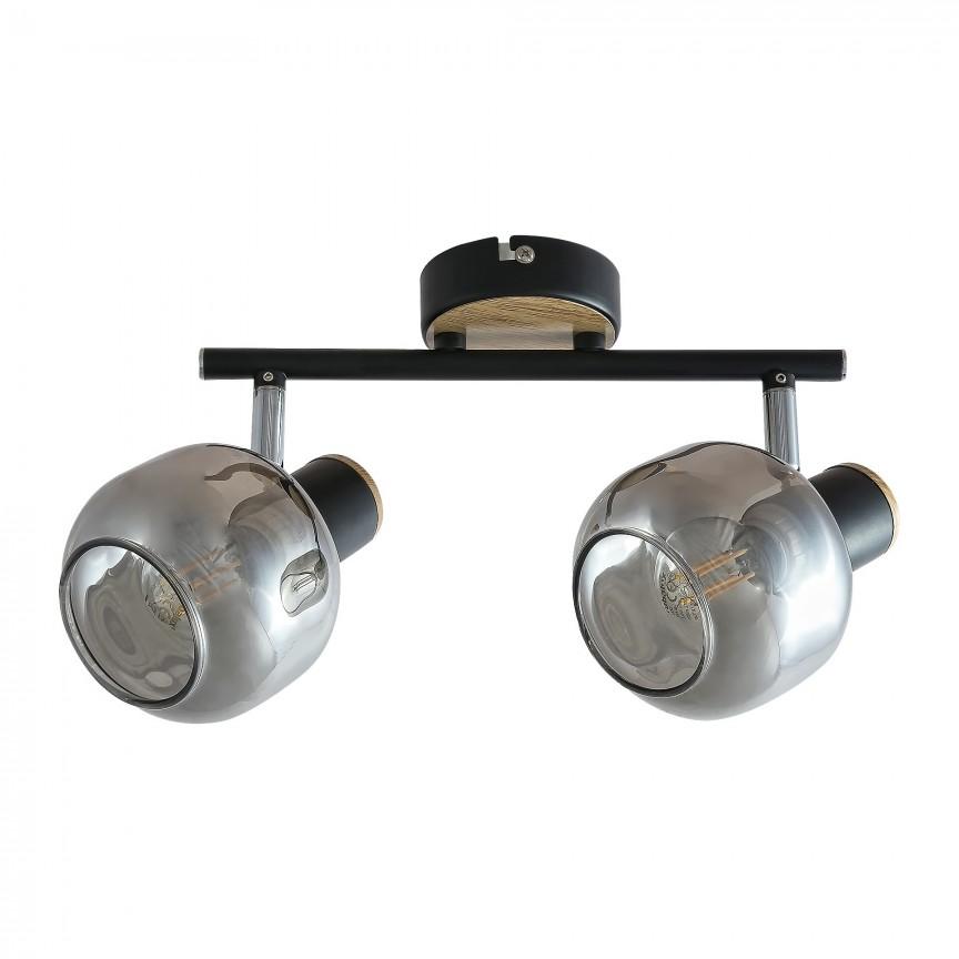 Aplica 2 spoturi design industrial SALAZAR stejar 5398 RX, Aplice aplicate perete sau tavan cu spoturi, LED⭐ modele moderne corpuri de iluminat tip spoturi pe bara.✅Design decorativ 2021!❤️Promotii lampi❗ ➽ www.evalight.ro. Alege oferte aplice de iluminat interior, lustre si plafoniere cu 2 spoturi cu lumina LED si directie reglabila, spot orientabil cu intrerupator, simple si ieftine de calitate la cel mai bun pret. a
