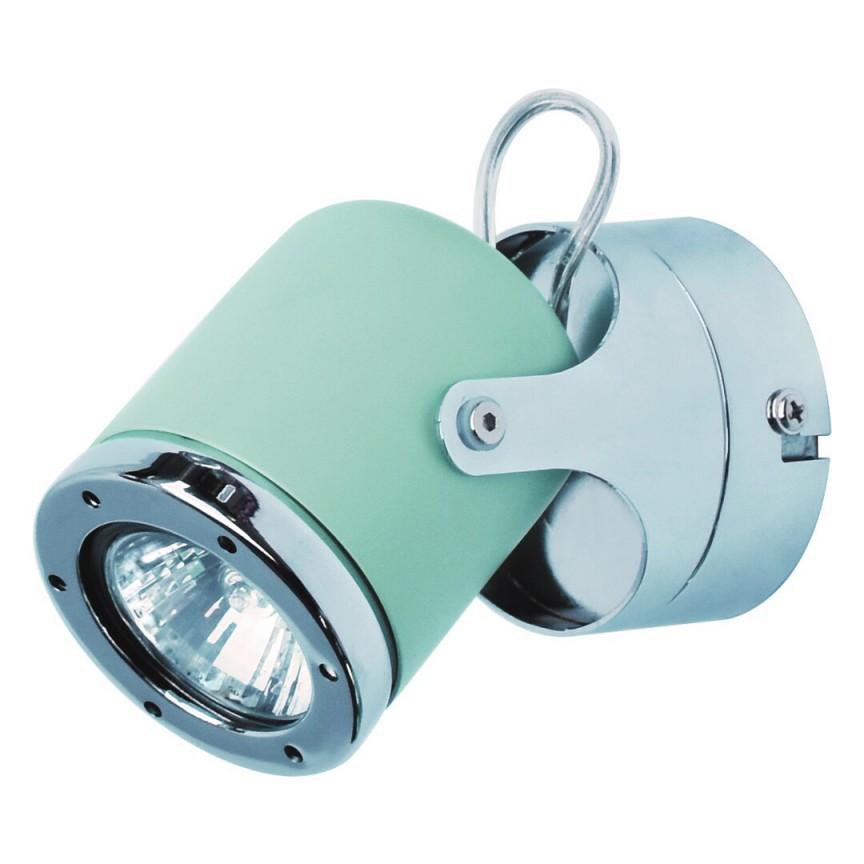 Aplica de perete cu 1 spot camera copii APRIL menta/crom 5033 RX , Aplice aplicate perete sau tavan cu spot, LED⭐ modele moderne corpuri de iluminat tip spot-uri pe bara.✅Design decorativ 2021!❤️Promotii lampi❗ ➽ www.evalight.ro. Alege oferte aplice de iluminat interior, lustre si plafoniere cu 1 spot cu lumina LED si directie reglabila, spot orientabil cu intrerupator, simple si ieftine de calitate la cel mai bun pret. a