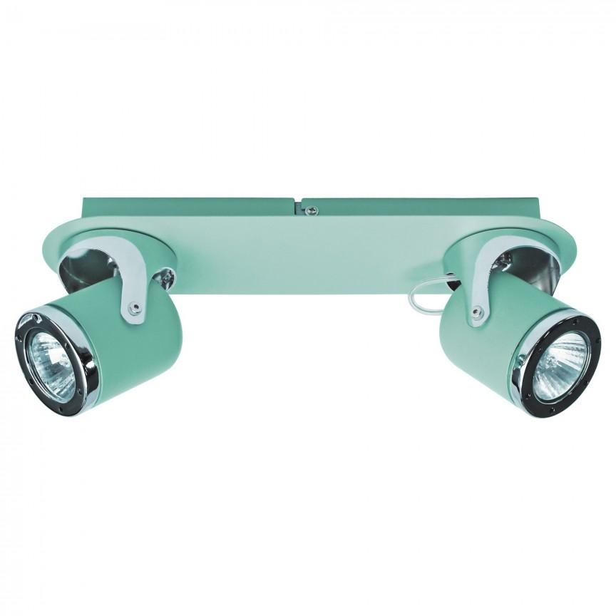 Aplica cu 2 spoturi camera copii APRIL menta/crom 5034 RX , Aplice aplicate perete sau tavan cu spoturi, LED⭐ modele moderne corpuri de iluminat tip spoturi pe bara.✅Design decorativ 2021!❤️Promotii lampi❗ ➽ www.evalight.ro. Alege oferte aplice de iluminat interior, lustre si plafoniere cu 2 spoturi cu lumina LED si directie reglabila, spot orientabil cu intrerupator, simple si ieftine de calitate la cel mai bun pret. a