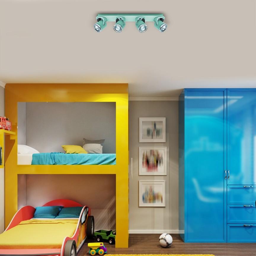 Aplica 4 spoturi camera copii APRIL menta/crom 5036 RX, Lustre cu spoturi, LED⭐ modele moderne corpuri de iluminat tip spoturi aplicate pe tavan sau perete.✅Design decorativ 2021!❤️Promotii lampi❗ ➽ www.evalight.ro. Alege oferte lustre de iluminat interior tip plafoniere si aplice cu 5 sau 6 spoturi pe bara cu lumina LED si directie reglabila pentru living, dormitor, bucatarie, baie, hol, camera copii, calitate de lux la cel mai bun pret. a
