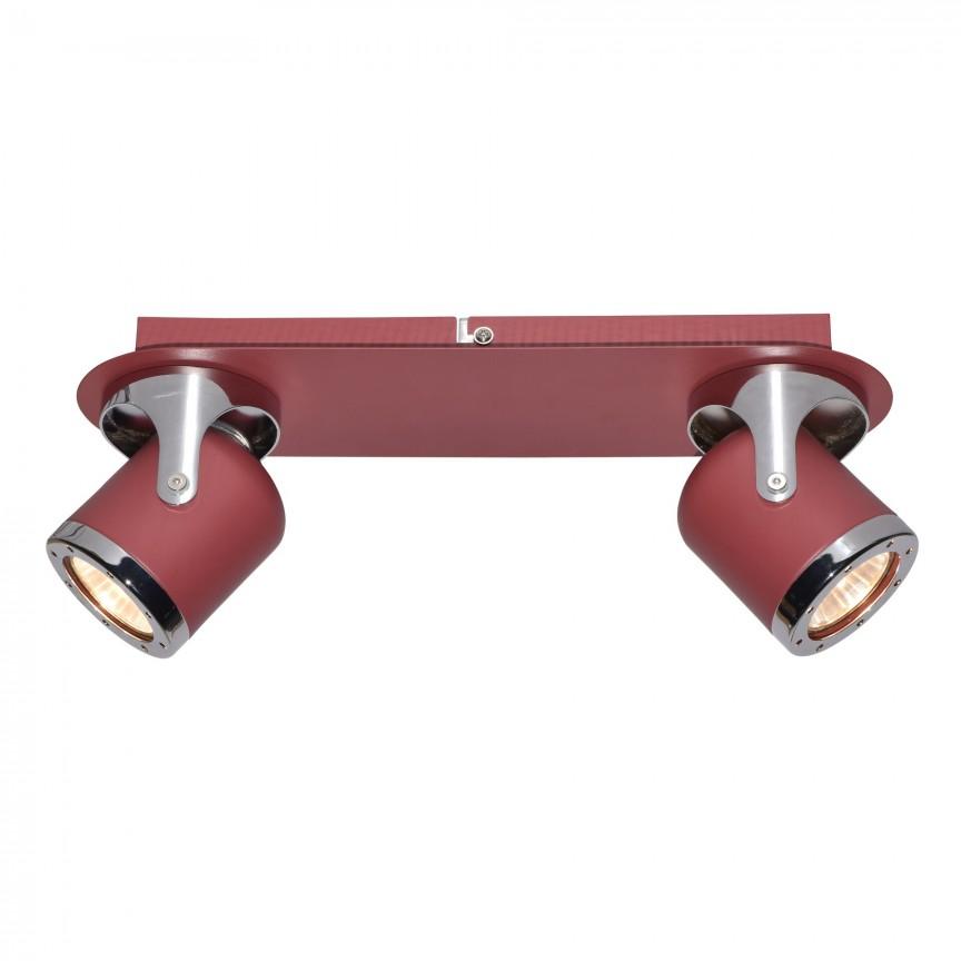 Aplica cu 2 spoturi camera copii APRIL rosu/crom 5038 RX, Aplice aplicate perete sau tavan cu spoturi, LED⭐ modele moderne corpuri de iluminat tip spoturi pe bara.✅Design decorativ 2021!❤️Promotii lampi❗ ➽ www.evalight.ro. Alege oferte aplice de iluminat interior, lustre si plafoniere cu 2 spoturi cu lumina LED si directie reglabila, spot orientabil cu intrerupator, simple si ieftine de calitate la cel mai bun pret. a